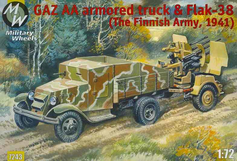 Military Wheels 1/72 GAZ-AA armored truck & Flak-38. Finland 1941